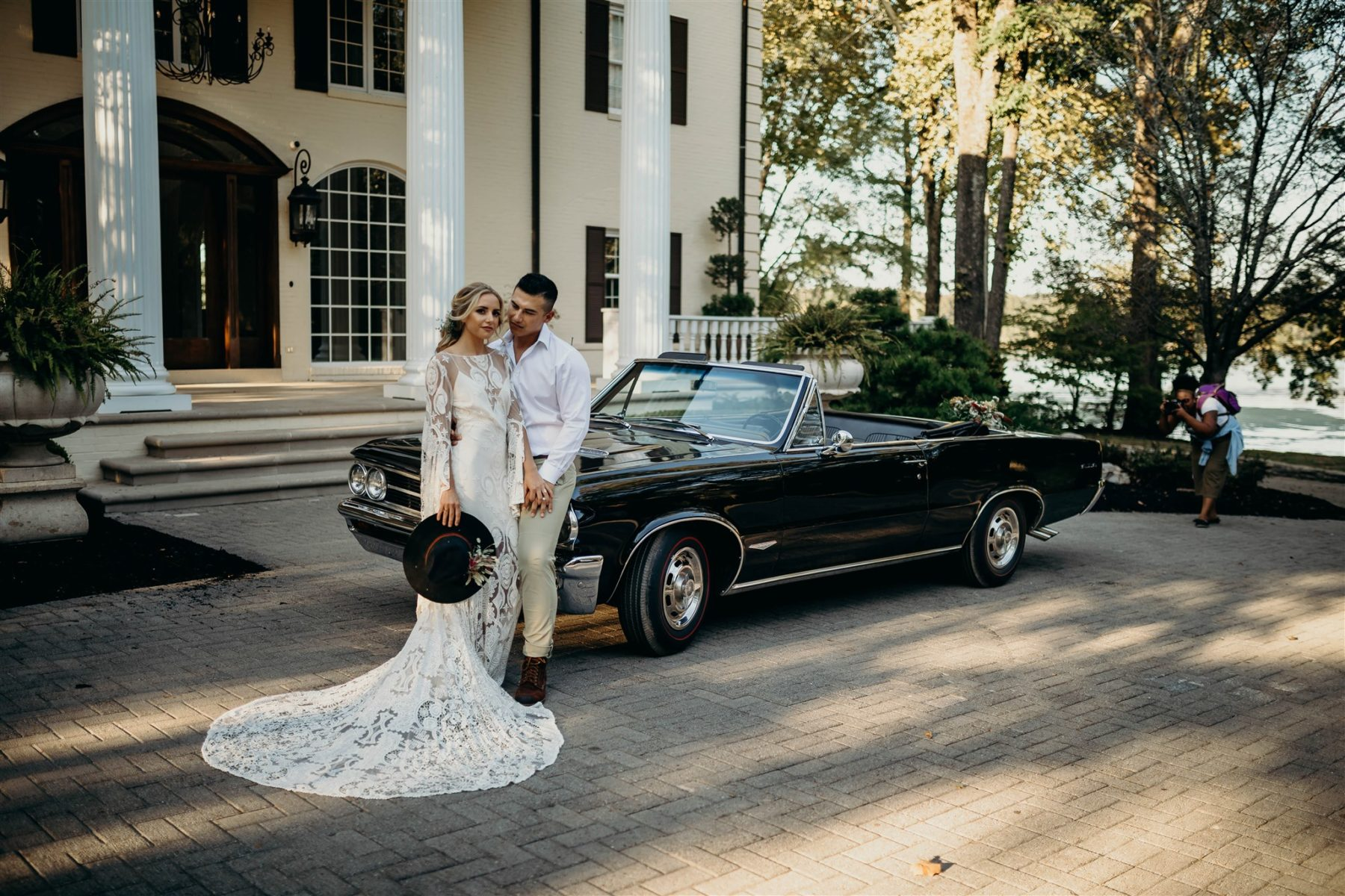 Vintage Wedding Car for Boho Winter Wedding Styled Shoot