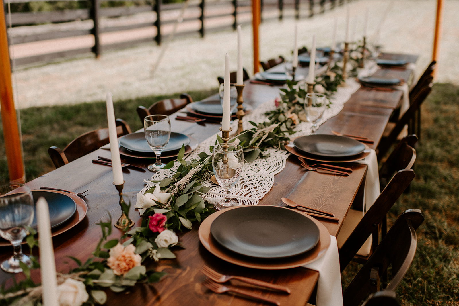 Greenery wedding table runners for outdoor Nashville wedding