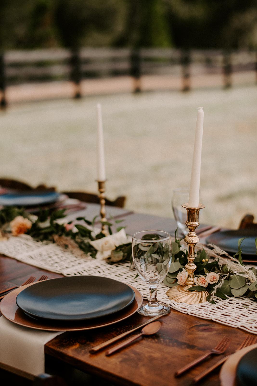 Wedding place setting: Elegant Boho Wedding at Cedermont Farm