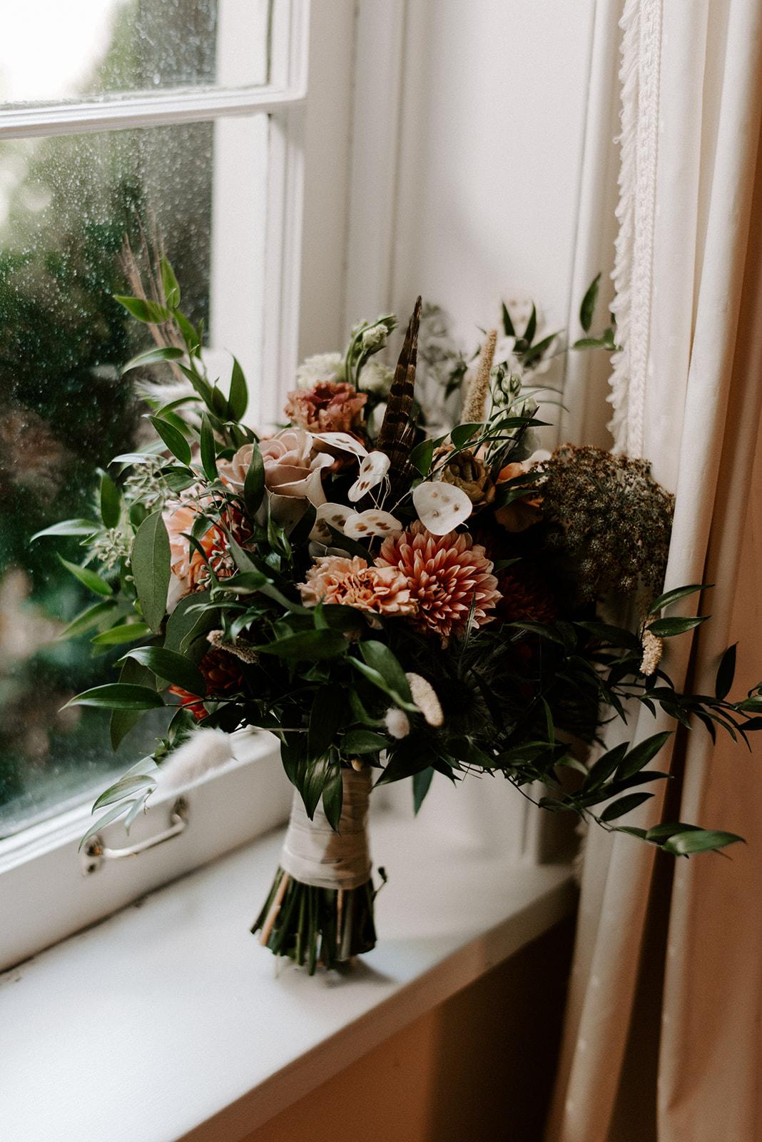 Organic wedding bouquet design by Memory of Elegance
