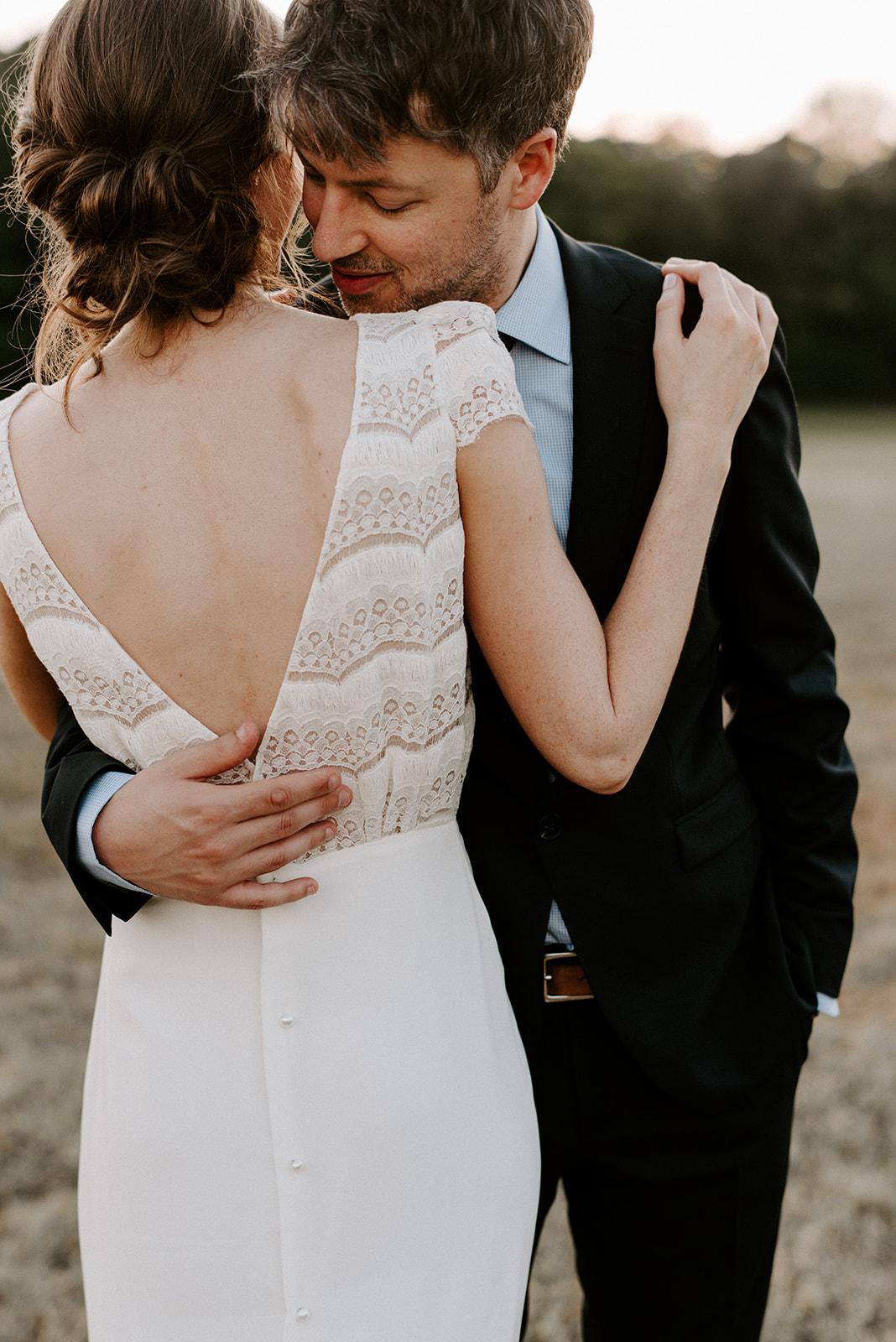 Elegant Boho Wedding Dress details for Cedermont Farm
