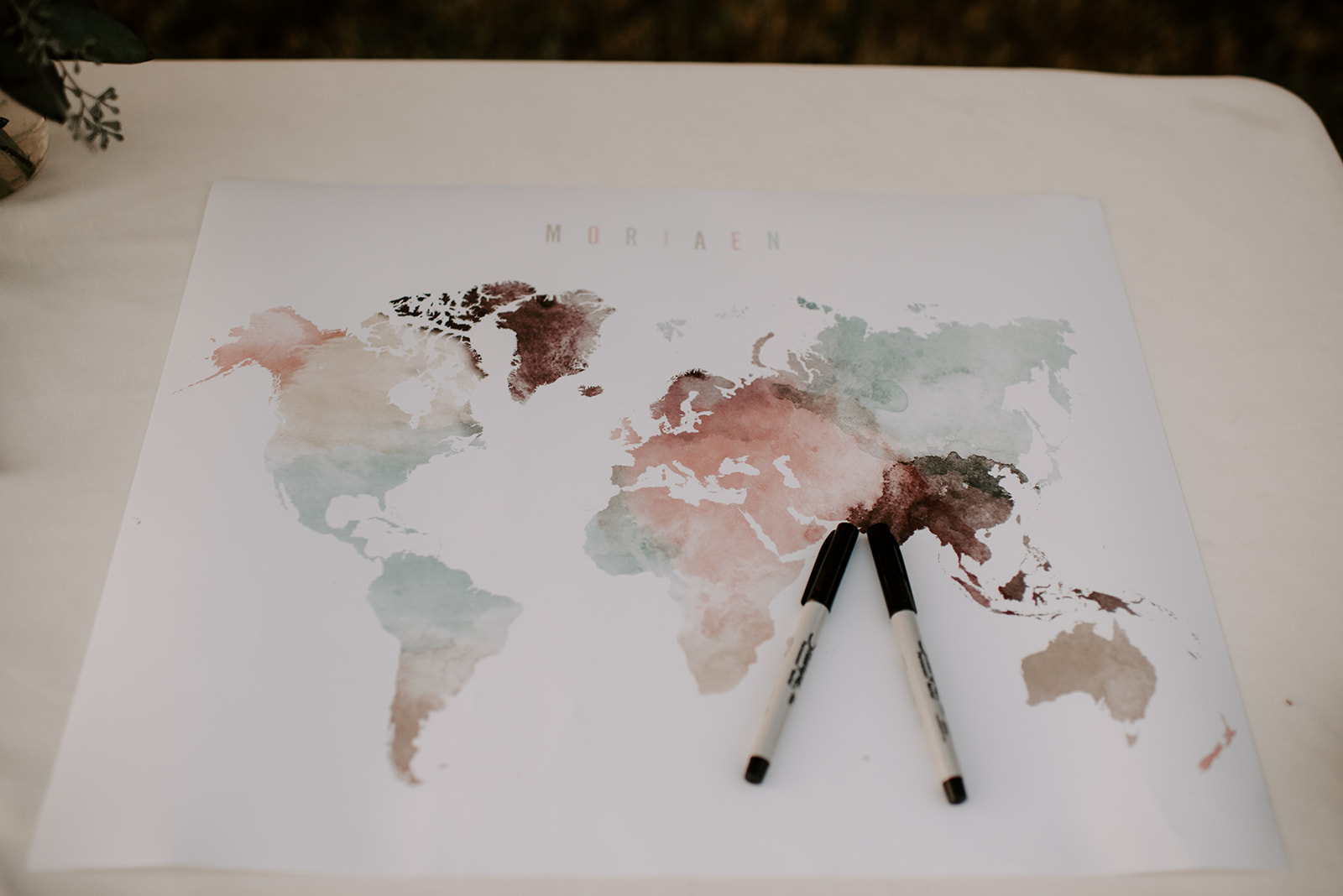 Watercolor world map wedding guest book at Nashville wedding