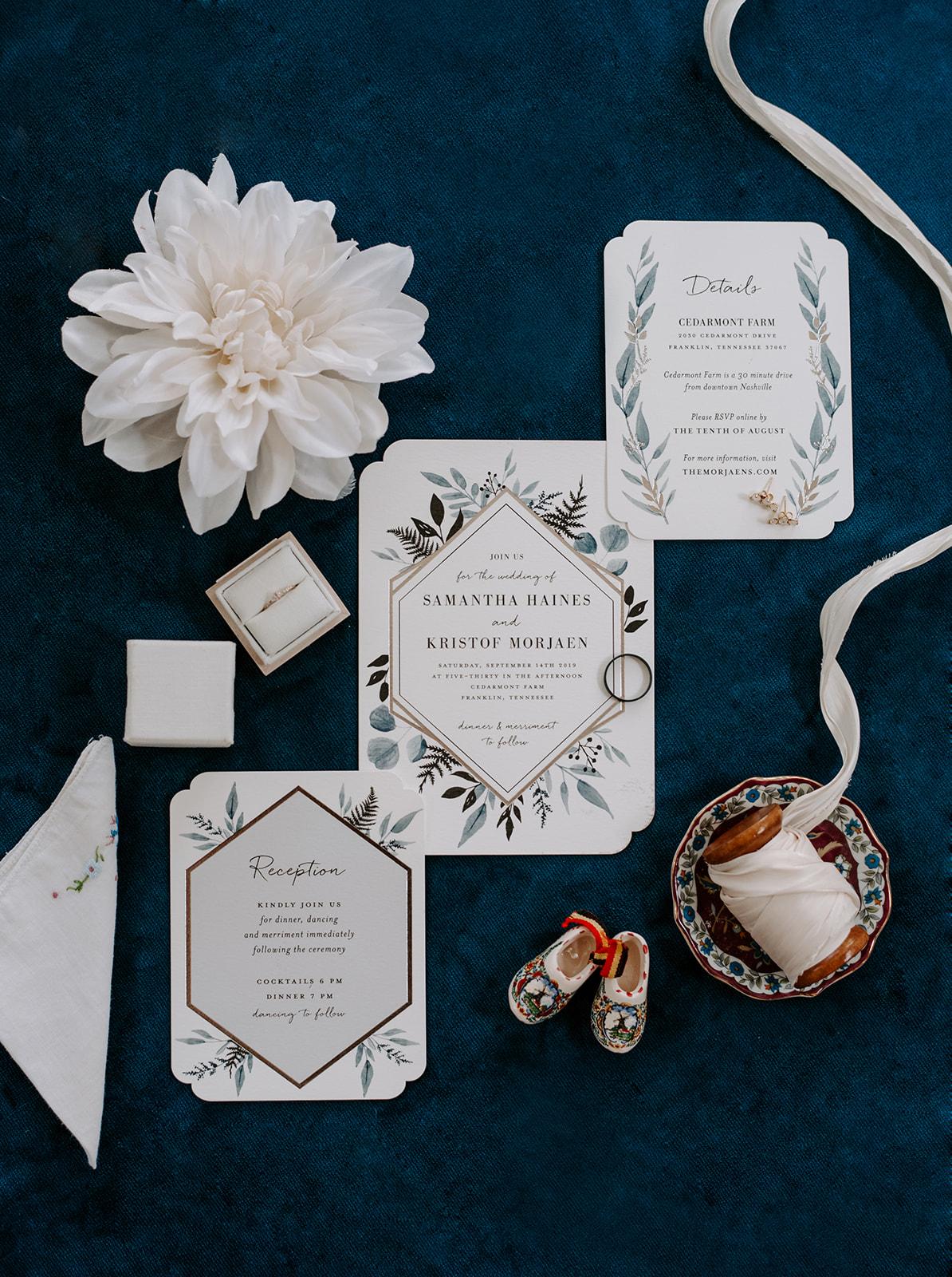 Blue and greenery wedding invitation design for Nashville wedding
