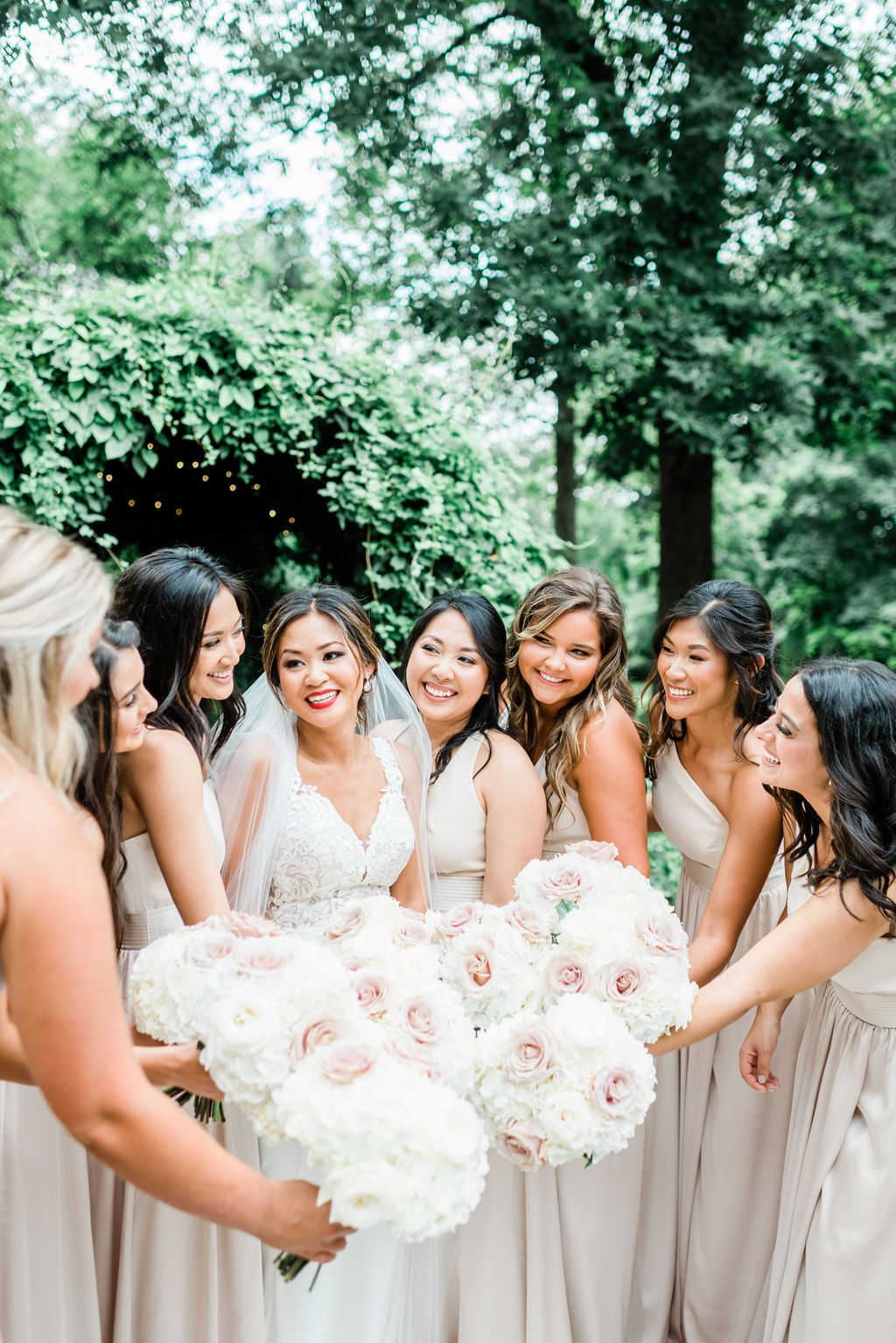 Pink and white wedding bouquets: Wedding portrait by Nashville wedding photographer Maria Gloer Photography