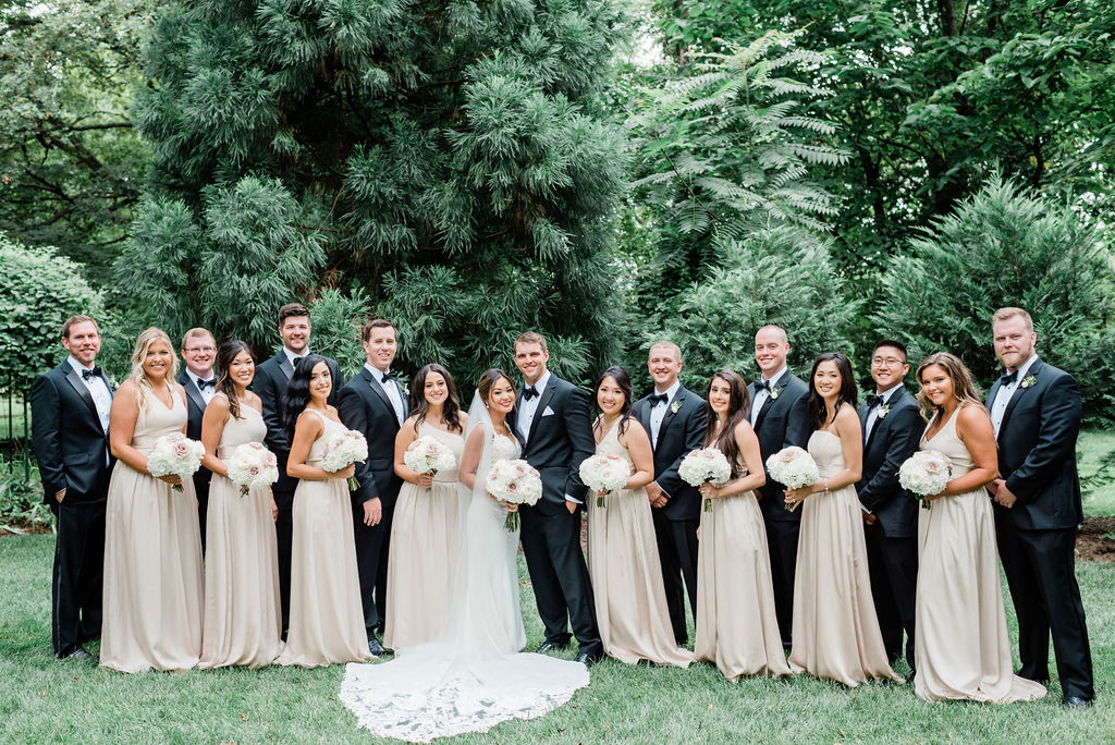 Neutral Bridesmaid Dresses: Wedding portrait by Nashville wedding photographer Maria Gloer Photography