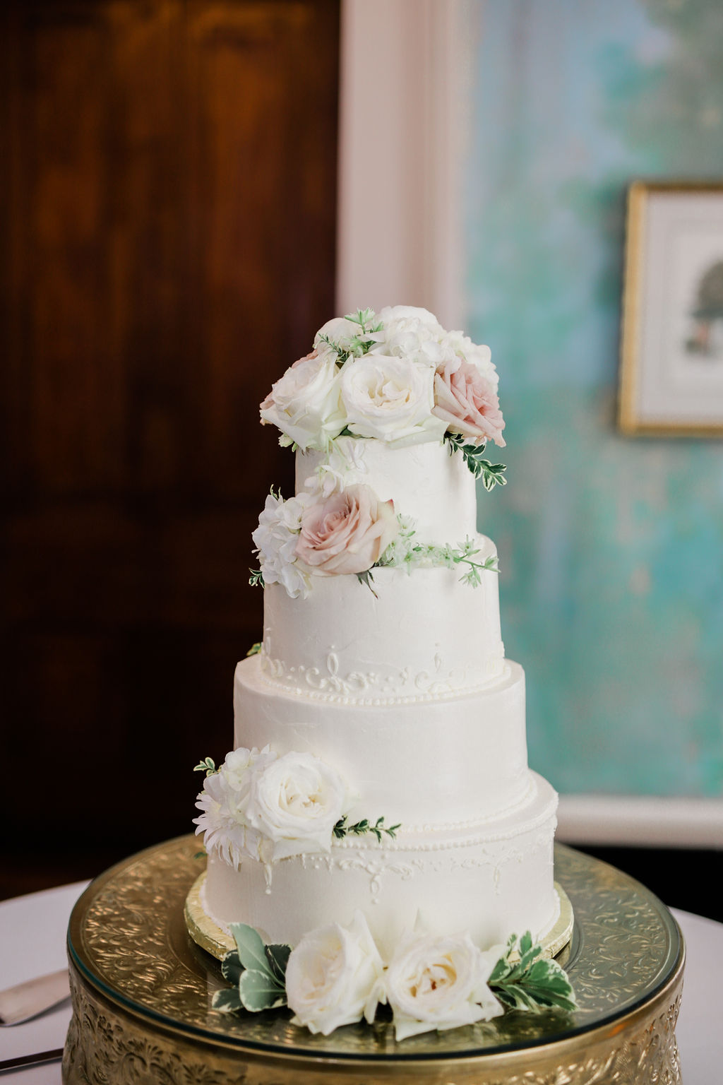 Pink and white wedding cake with flowers: Wedding portrait by Nashville wedding photographer Maria Gloer Photography