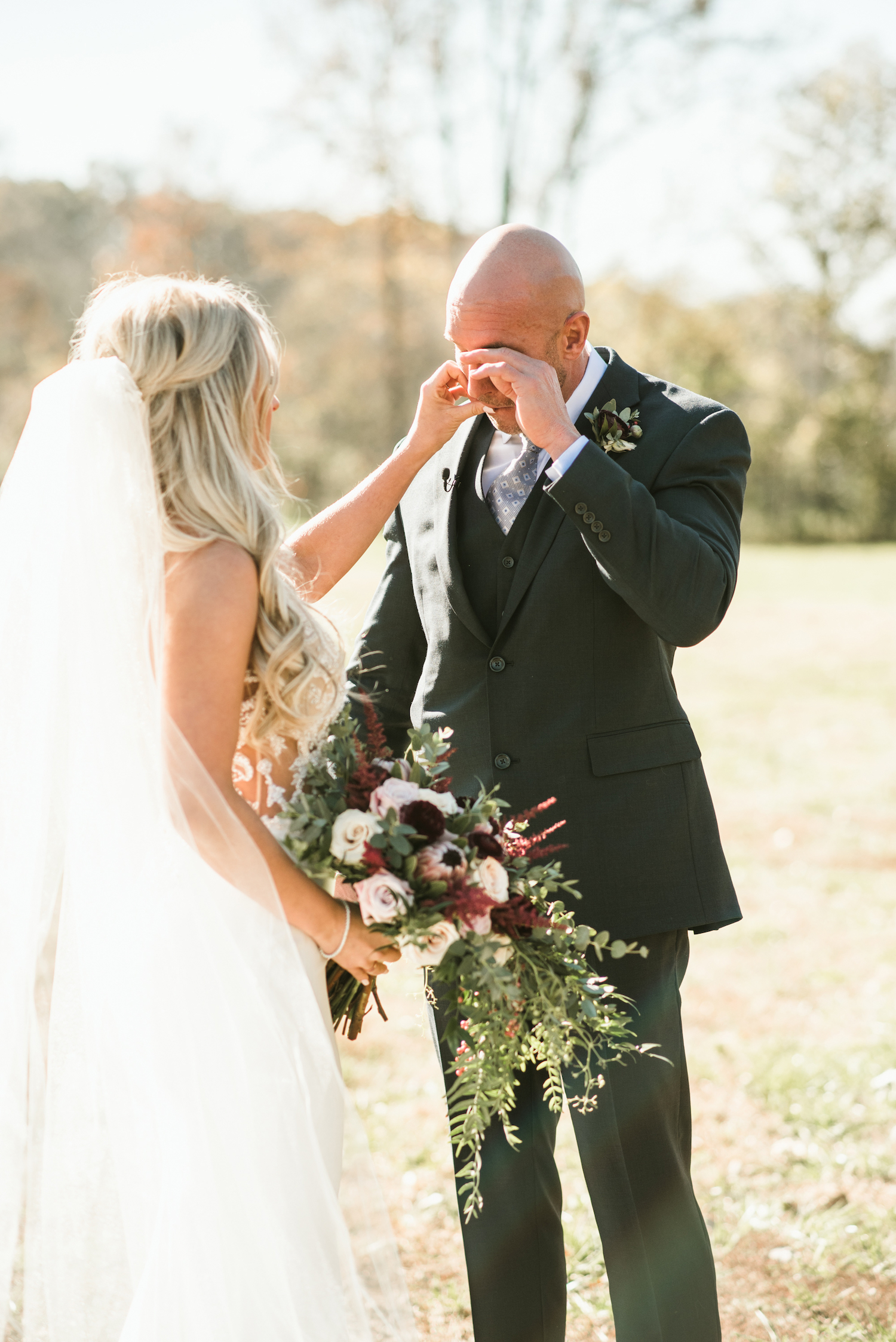 Wedding First Look captured by Shelby Rae Photographs on Nashville Bride Guide