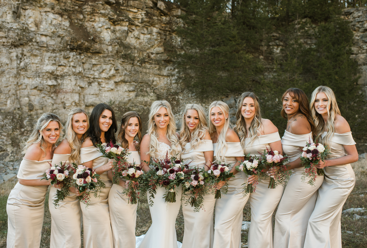 Champagne Bridesmaid Dresses: Upscale Marble Graystone Quarry Wedding featured on Nashville Bride Guide