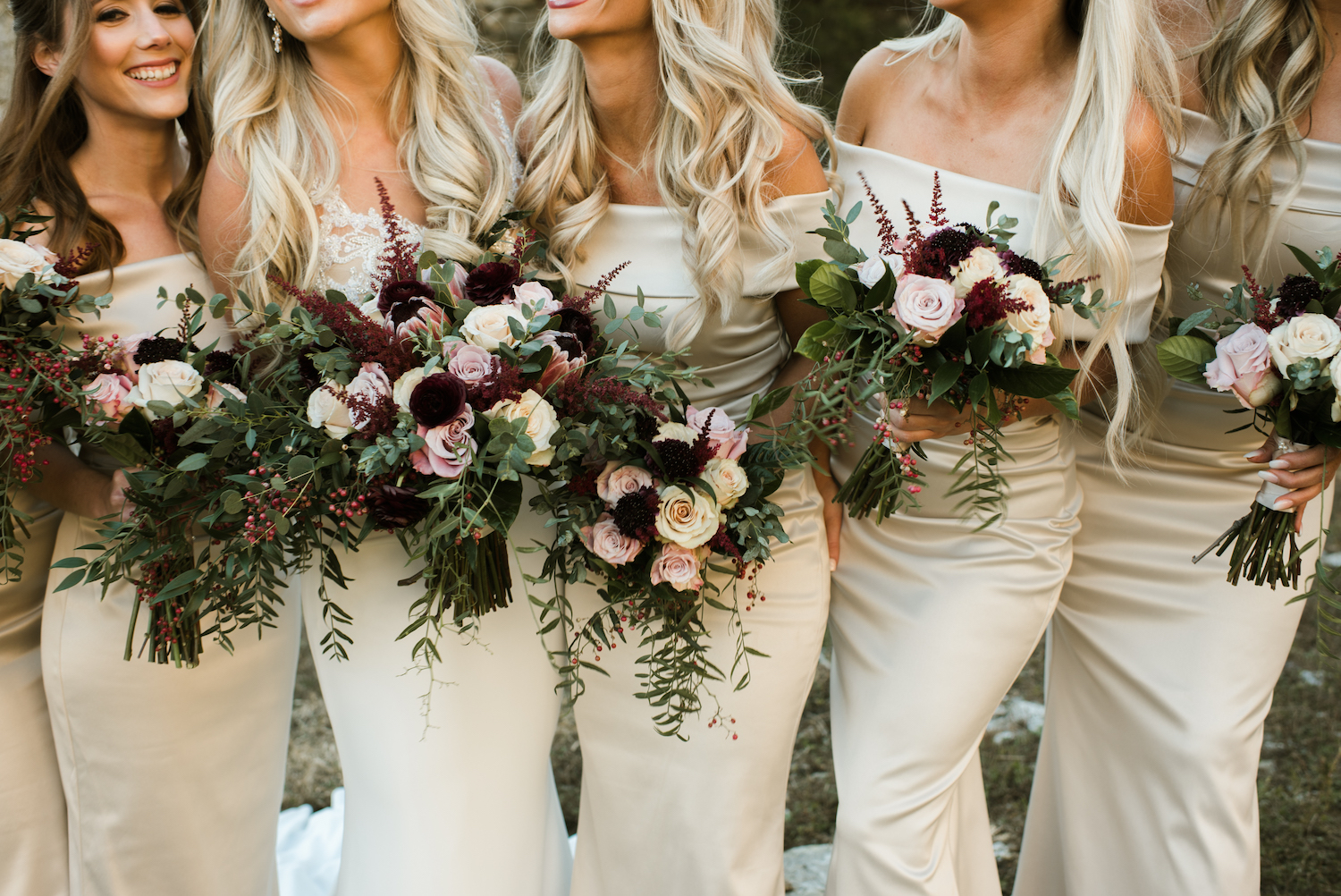Blush and Burgundy Wedding Bouquets: Upscale Marble Graystone Quarry Wedding featured on Nashville Bride Guide