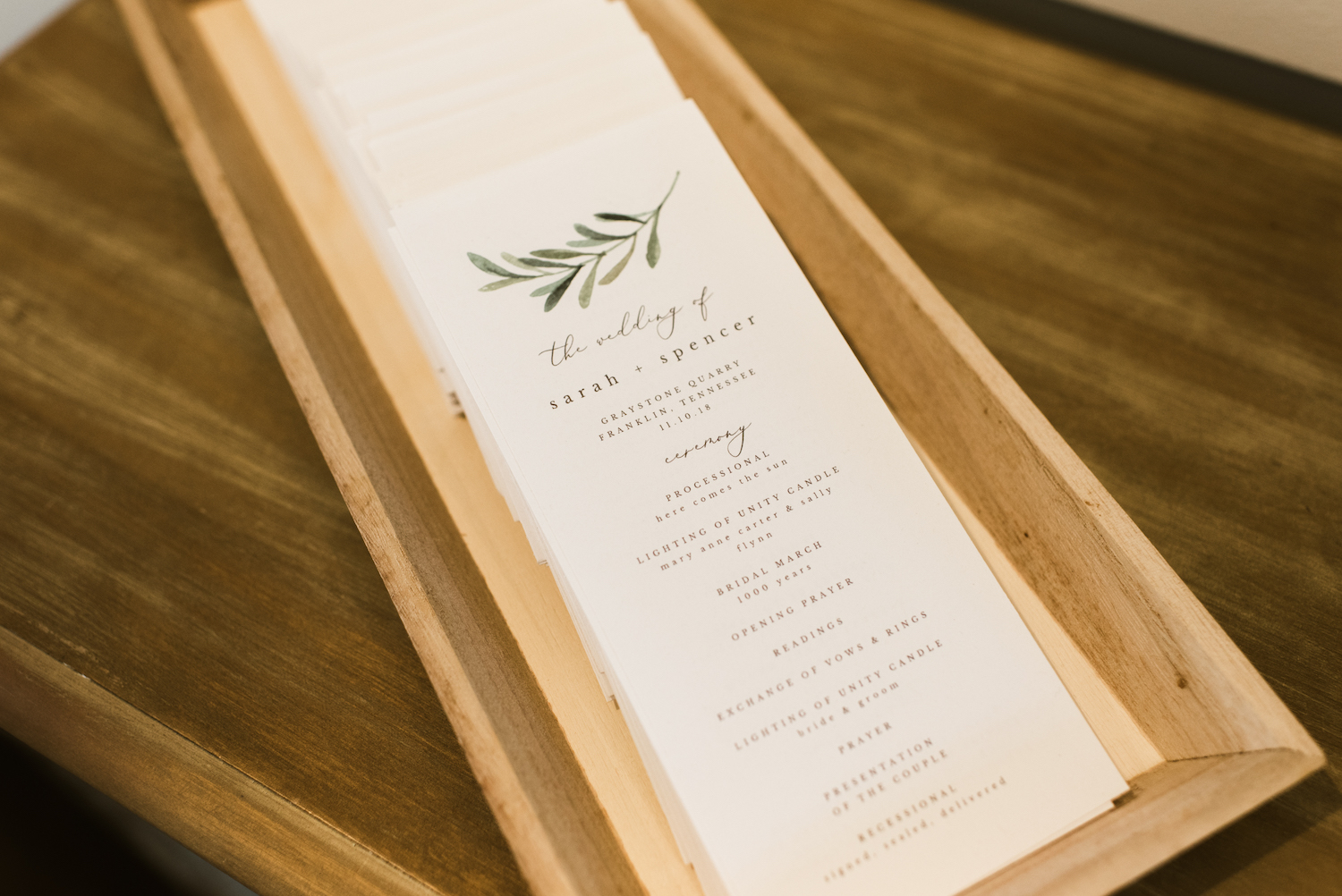 Wedding Ceremony Program: Upscale Marble Graystone Quarry Wedding featured on Nashville Bride Guide