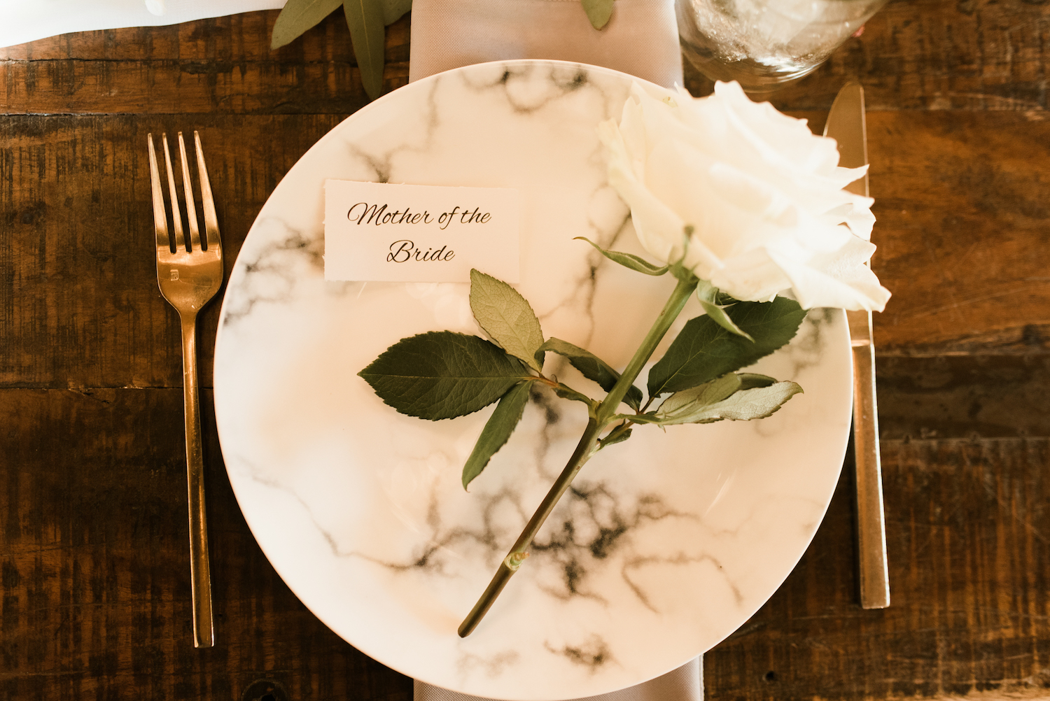 Marble Wedding Place Setting: Upscale Marble Graystone Quarry Wedding featured on Nashville Bride Guide by Shelby Rae Photographs