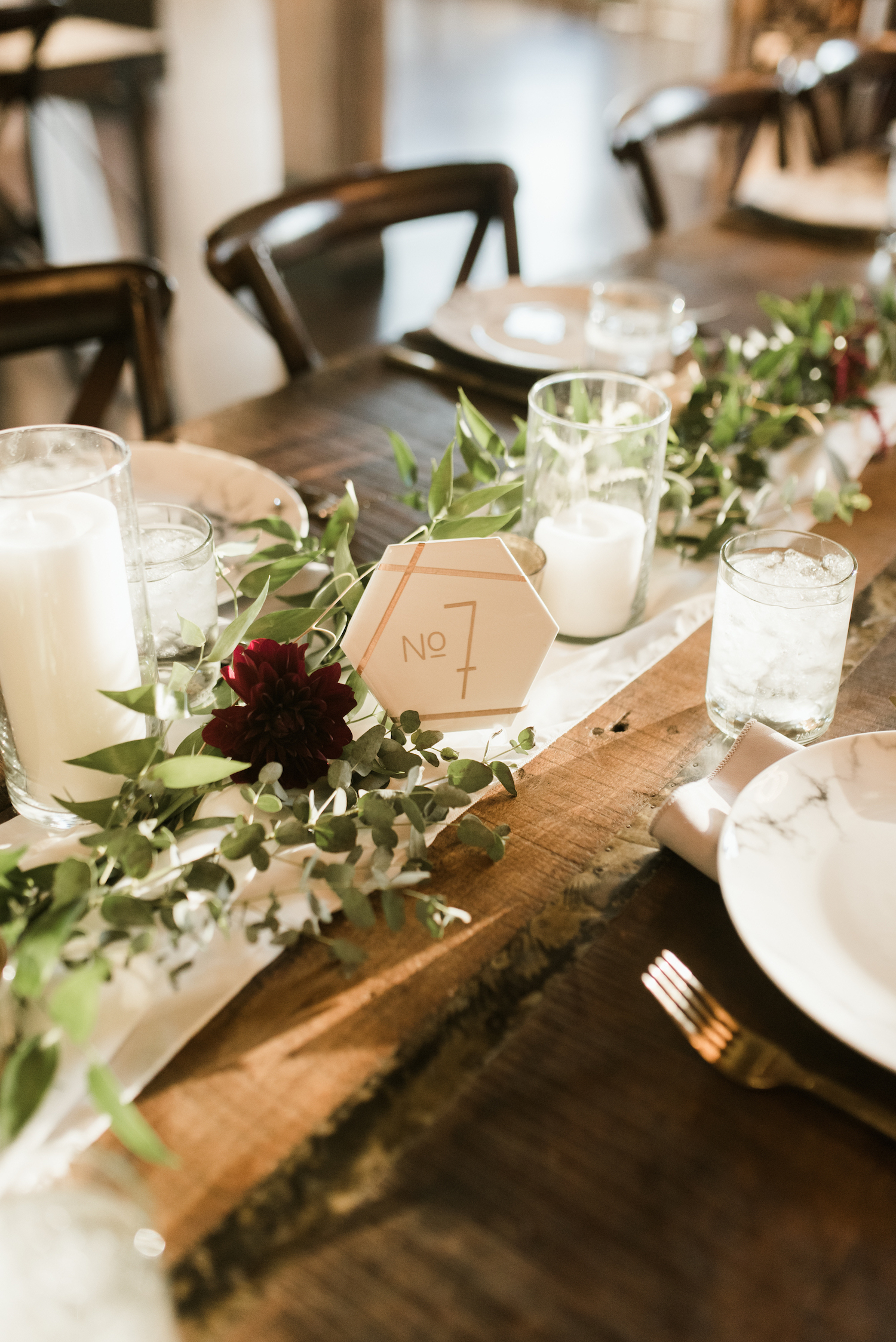 Marble Wedding Table Number: Upscale Marble Graystone Quarry Wedding featured on Nashville Bride Guide