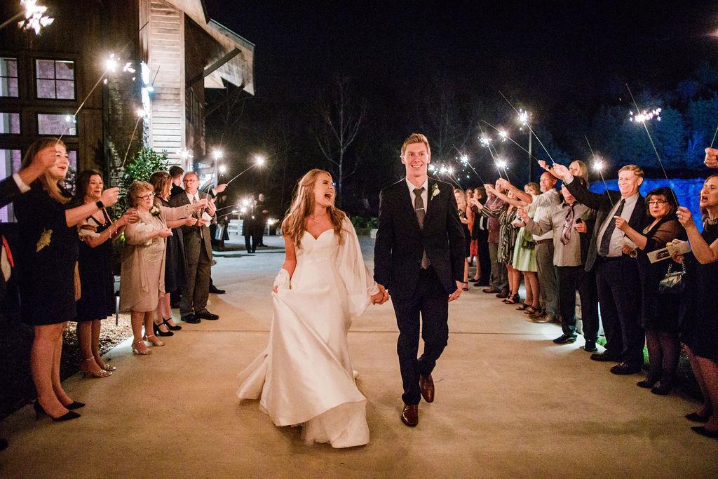Sparkler Wedding Exit: Romantic Wedding featured on Nashville Bride Guide
