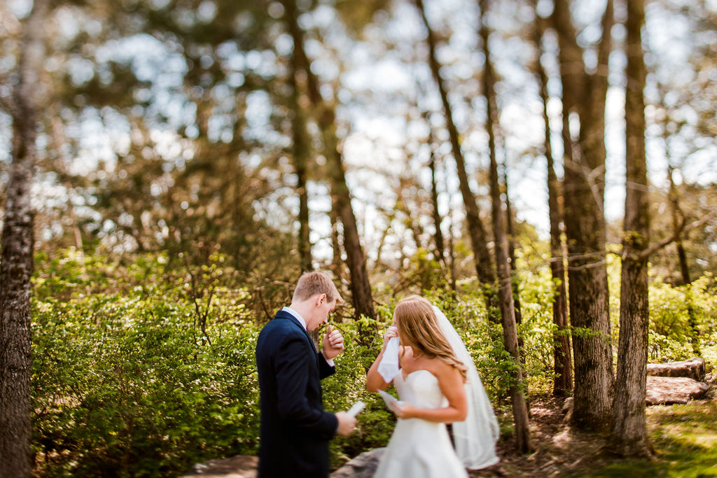 Wedding First Look: Beautiful Graystone Quarry Wedding captured by John Myers Photography & Videography