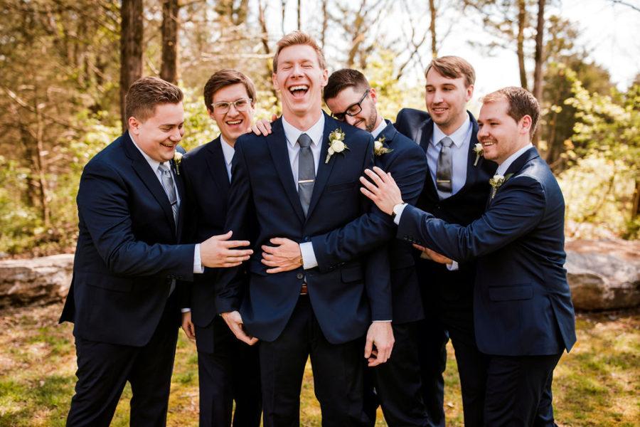 Groomsmen Blue Tuxedo: Beautiful Graystone Quarry Wedding captured by John Myers Photography & Videography