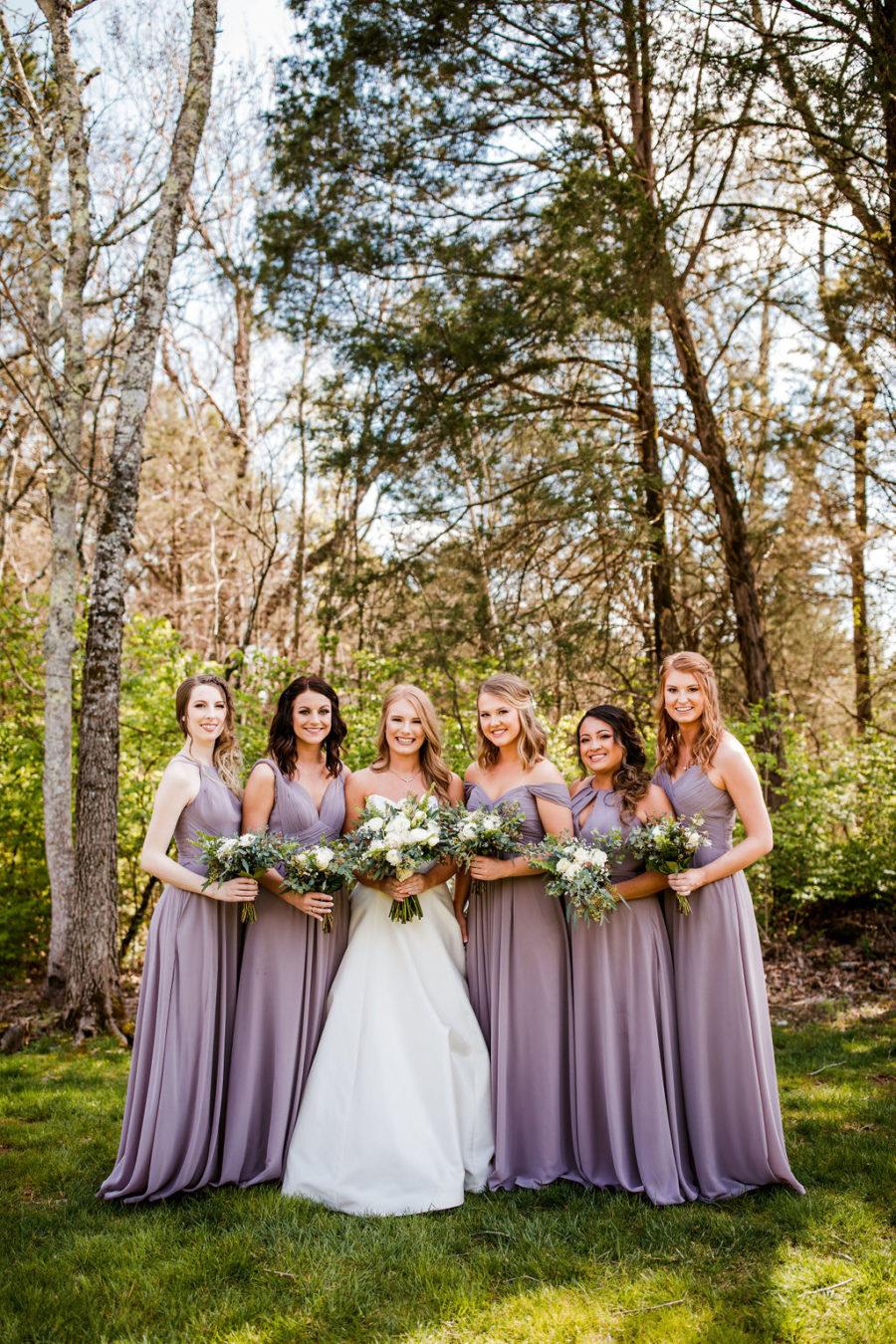 Light Purple Bridesmaid Dresses: Beautiful Graystone Quarry Wedding captured by John Myers Photography & Videography