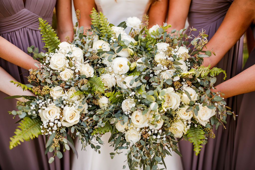 White and Greenery Wedding Bouquets: Beautiful Graystone Quarry Wedding captured by John Myers Photography & Videography