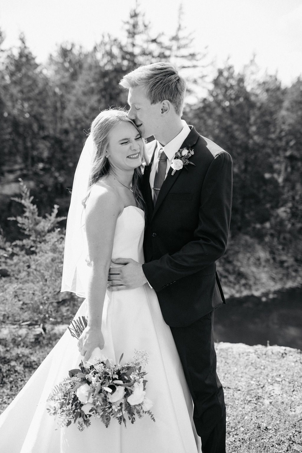 Black and White Wedding Photo: Beautiful Graystone Quarry Wedding captured by John Myers Photography & Videography