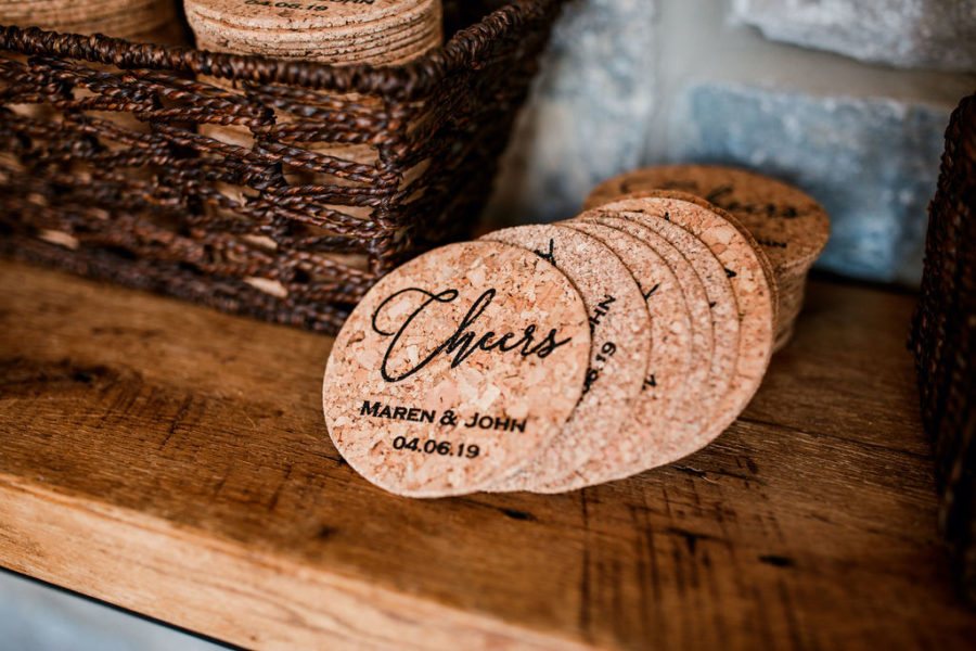 Personalized Wedding Coasters: Beautiful Graystone Quarry Wedding featured on Nashville Bride Guide!