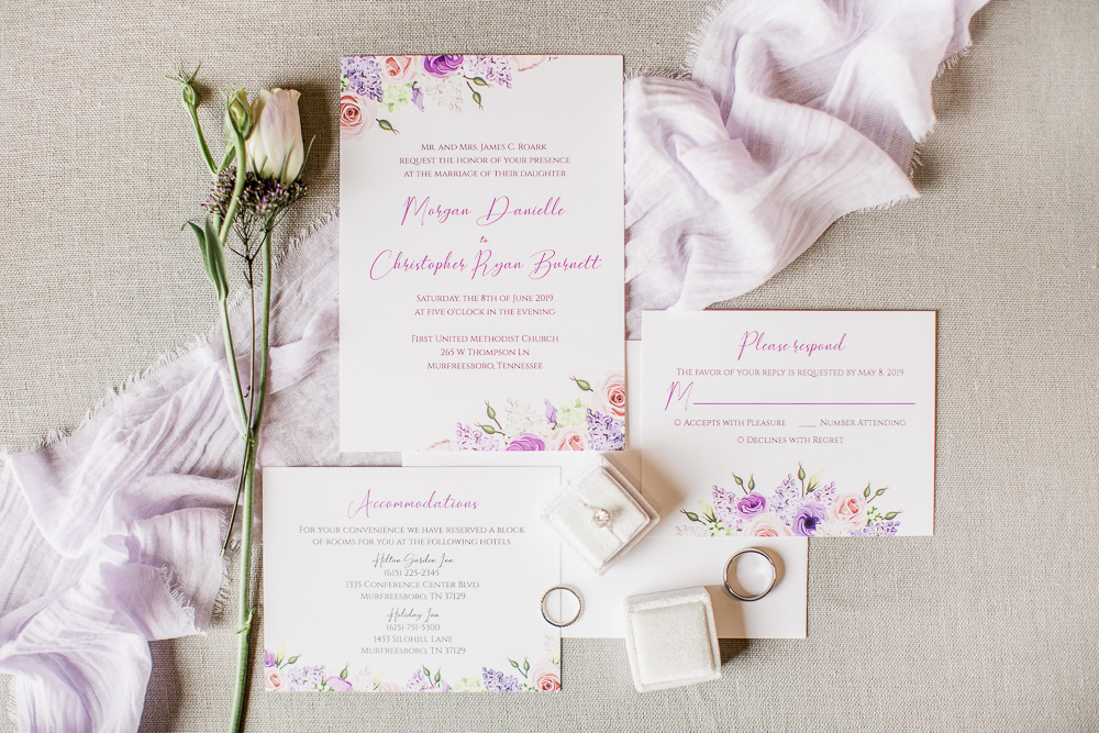 Pink and Purple Floral Wedding Stationery captured by Amanda May Photos featured on Nashville Bride Guide