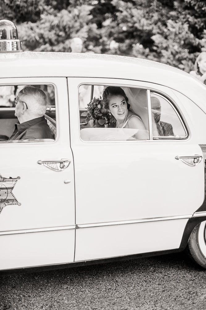 Vintage Wedding Car: Stones River Country Club Wedding featured on Nashville Bride Guide