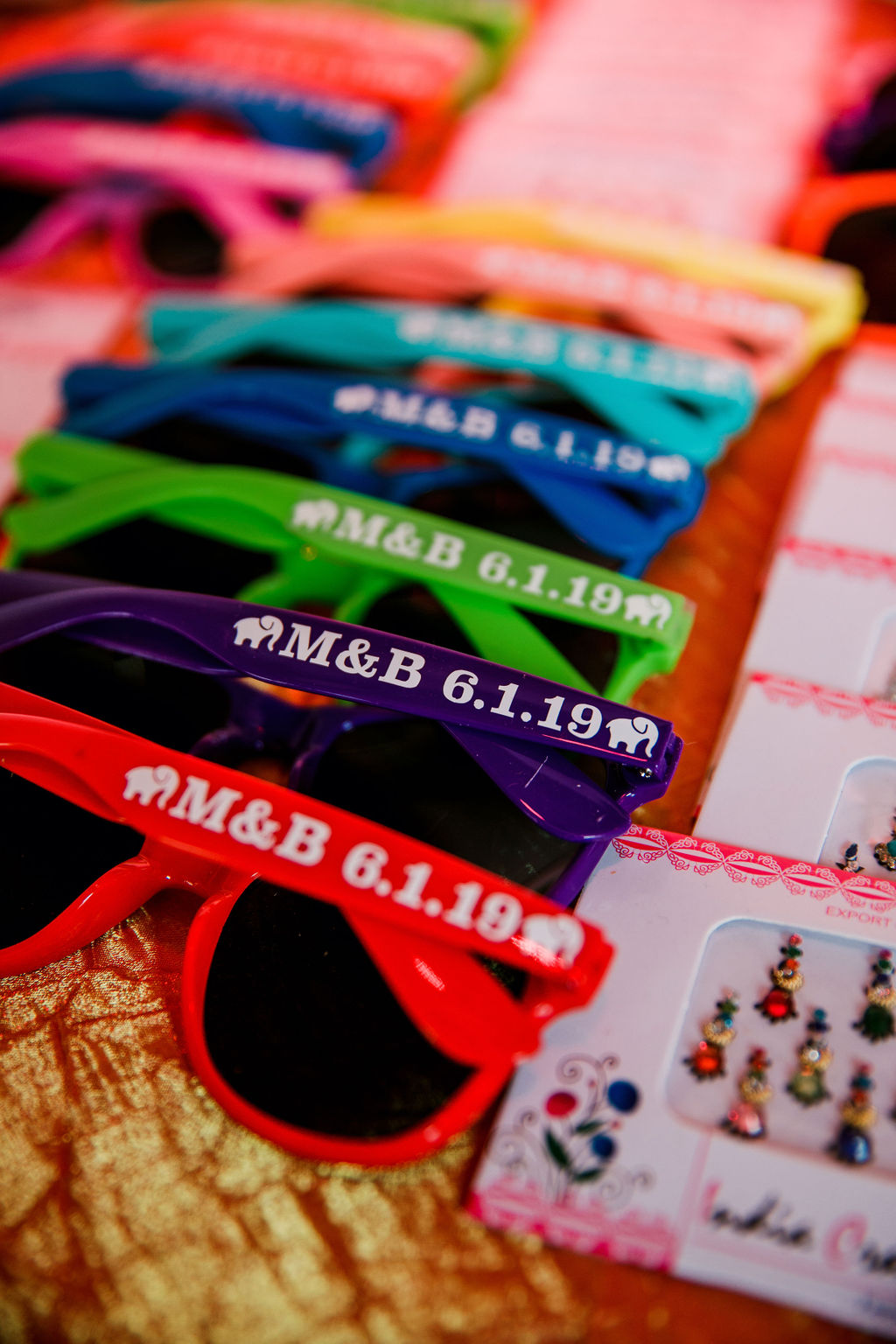 Colorful Sunglasses Wedding Favors: Bollywood Meets Traditional Wedding at The Bridge Building