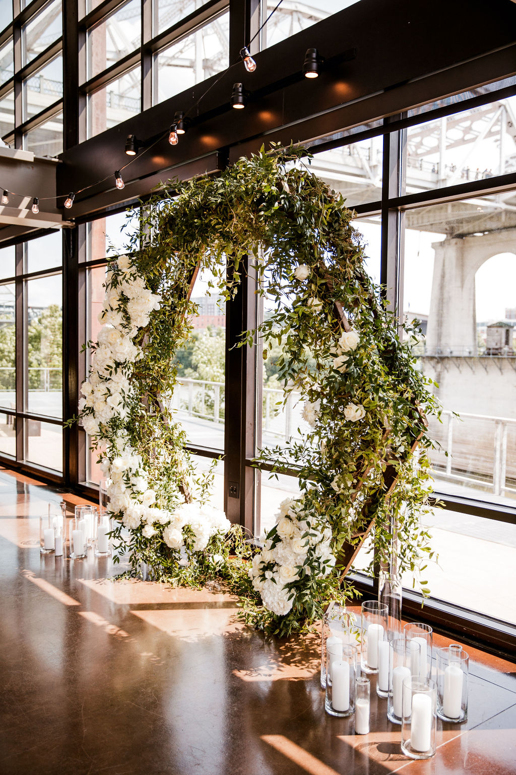 Floral Wedding Ceremony Arch: Bollywood Meets Traditional Wedding at The Bridge Building