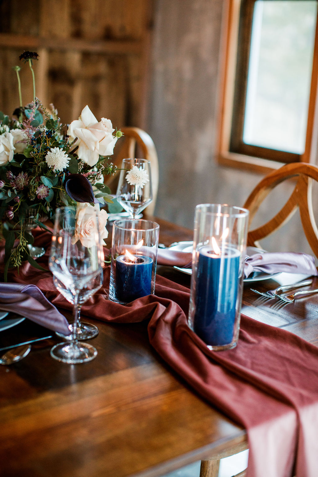 Blue wedding candles: Moody Spring Styled Shoot and Cedarmont Farm featured on Nashville Bride Guide