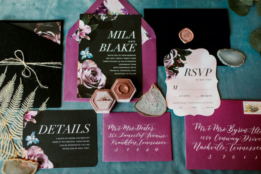 Paperkuts Studio wedding invitations: Moody Spring Styled Shoot and Cedarmont Farm featured on Nashville Bride Guide