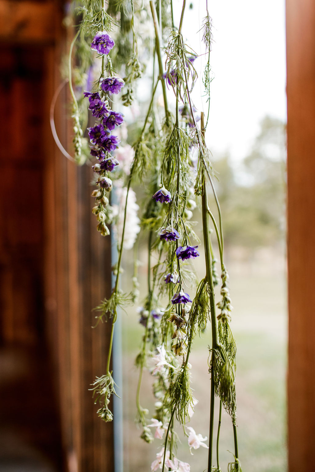 Hanging wedding flower designs; Moody Spring Styled Shoot and Cedarmont Farm featured on Nashville Bride Guide