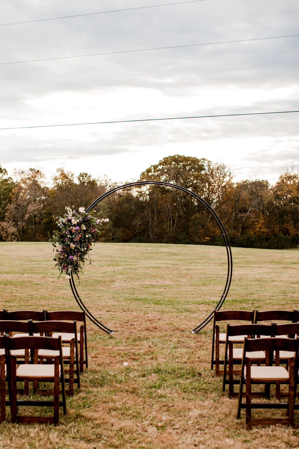 Outdoor wedding ceremony setup: Moody Spring Styled Shoot and Cedarmont Farm featured on Nashville Bride Guide