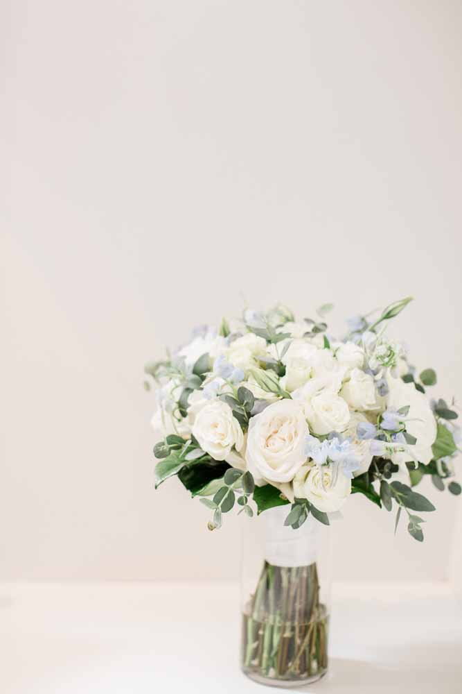 Blue and White Wedding Bouquet: Fall Graystone Quarry Wedding featured on Nashville Bride Guide
