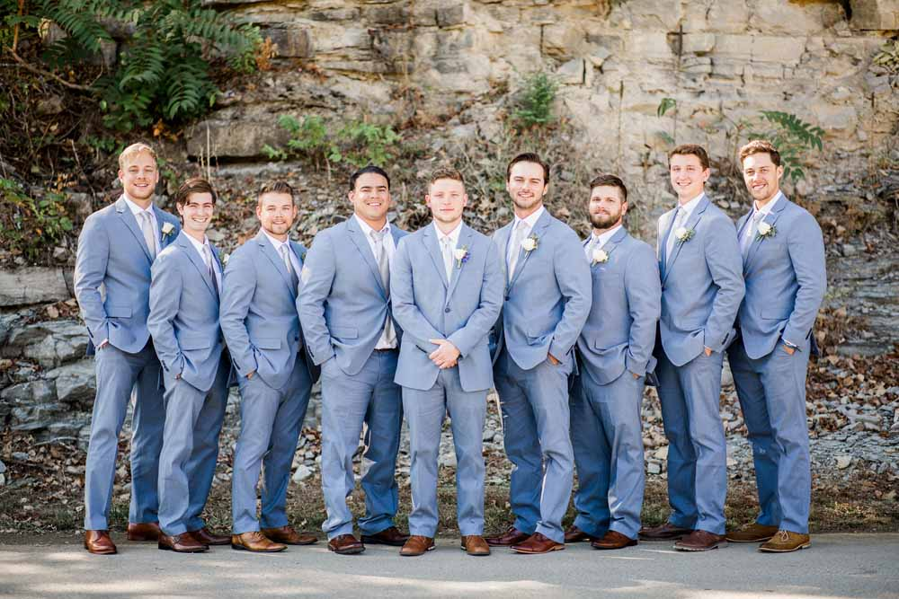 Gray Wedding Suits: Fall Graystone Quarry Wedding featured on Nashville Bride Guide