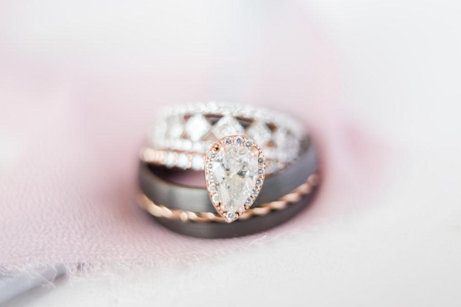 Pear-shaped wedding ring: Romantic Blush & Metallic Inspired Wedding featured on Nashville Bride Guide