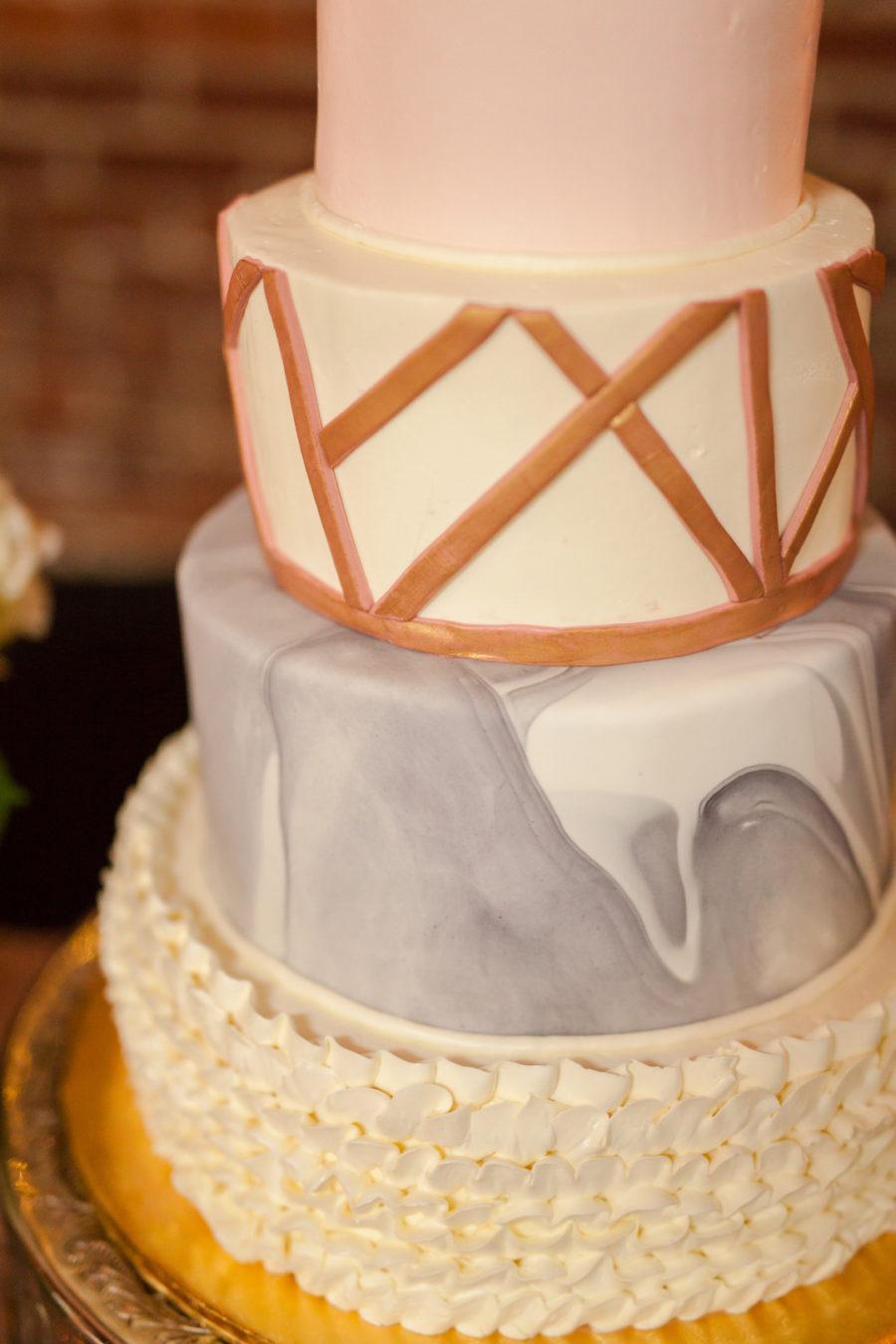 Wedding Cake Design: Romantic Blush & Metallic Wedding at Depot Square featured on Nashville Bride Guide
