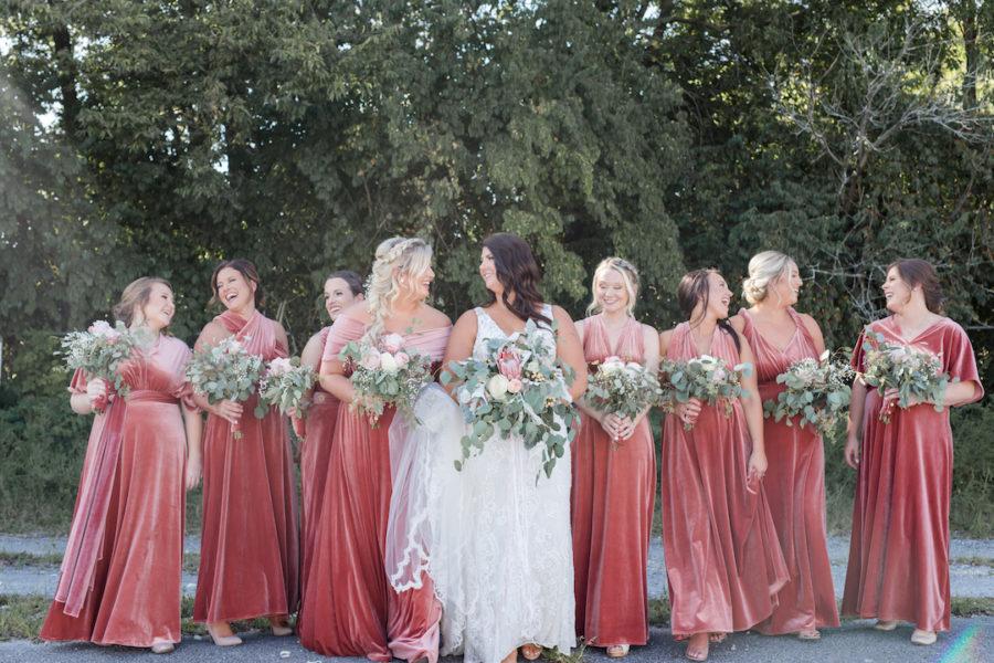 Bridesmaids Dresses: Romantic Blush & Metallic Inspired Wedding featured on Nashville Bride Guide