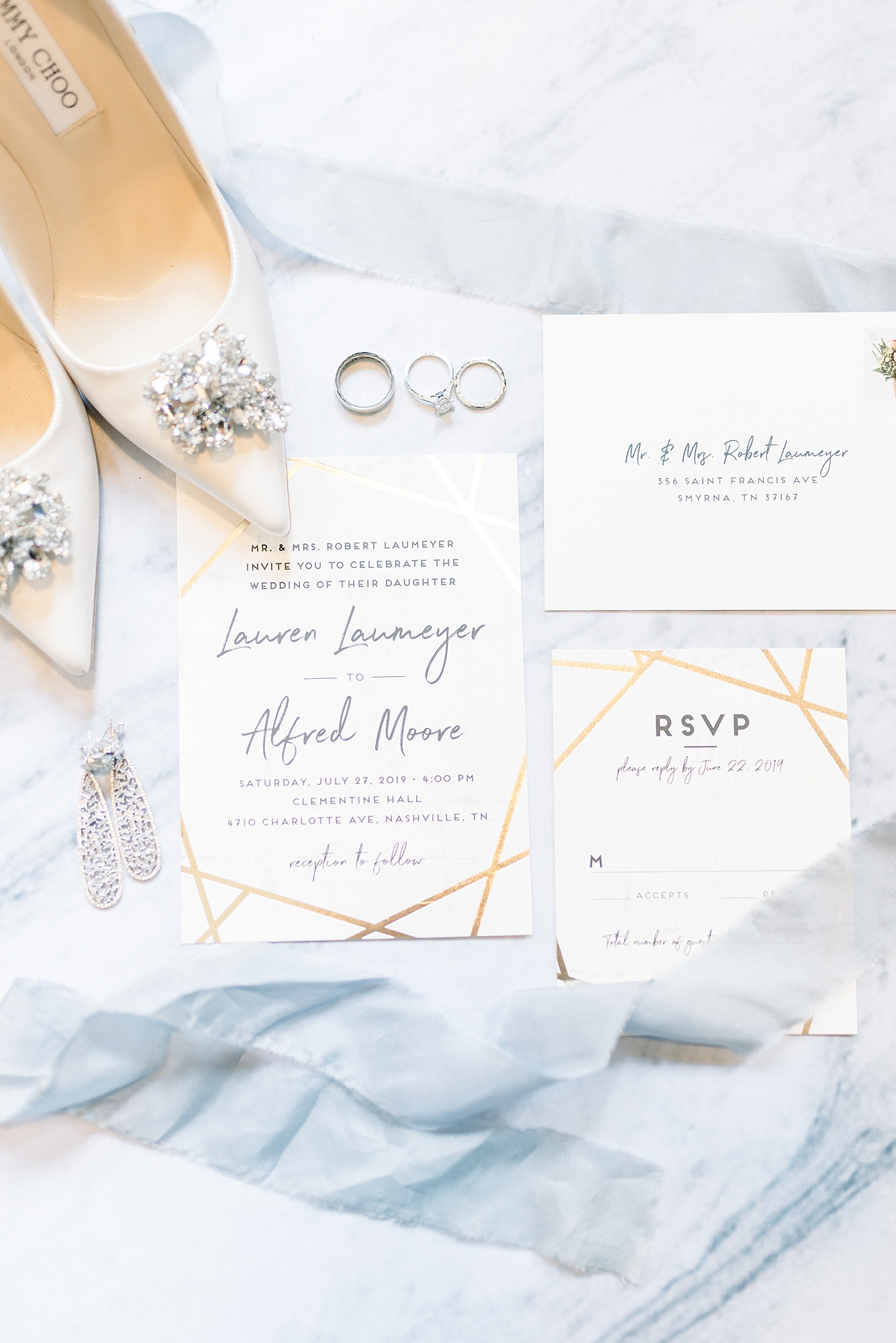 Gold and White Wedding Stationery: Modern and Southern Wedding at the Clementine featured on Nashville Bride Guide