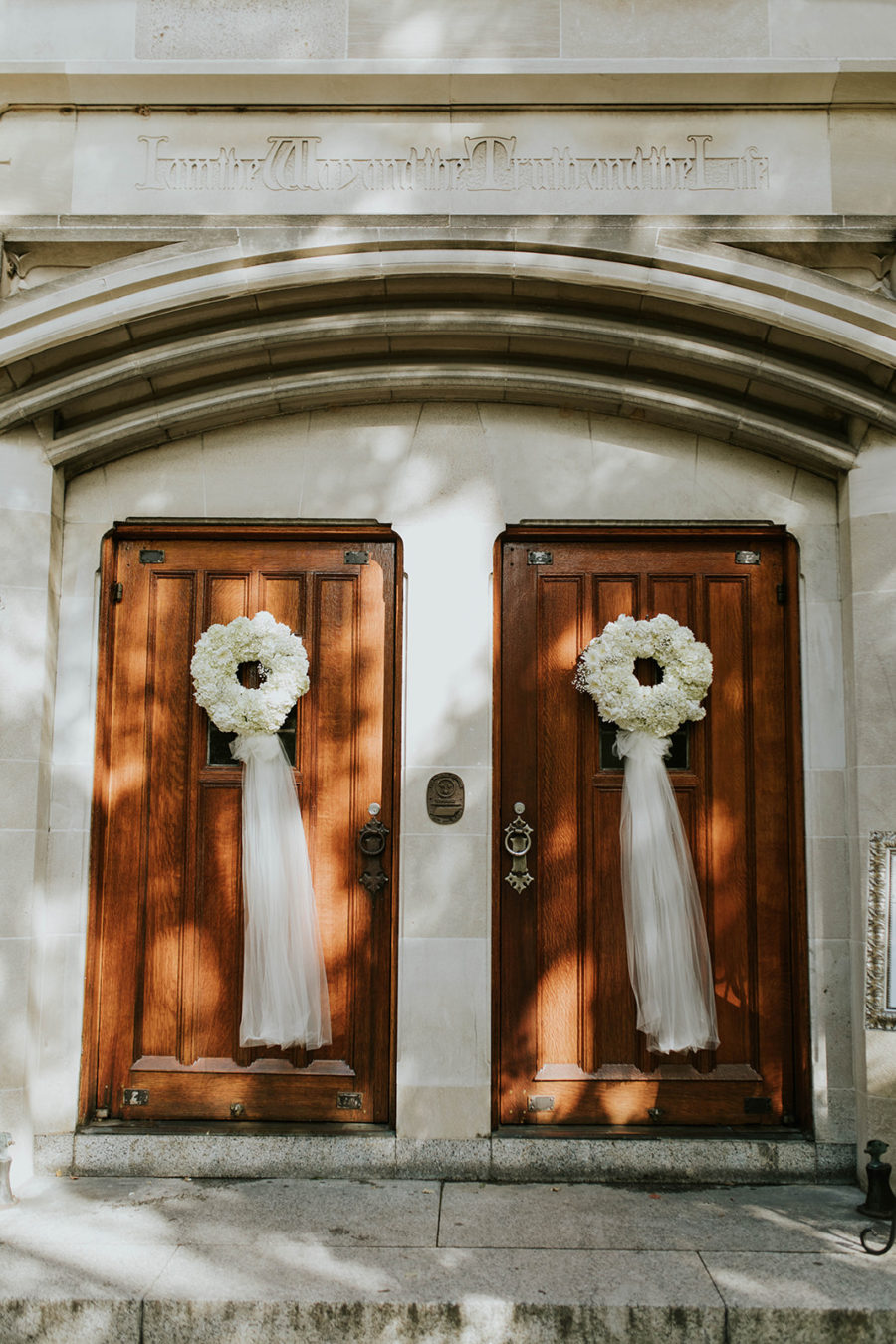 Wedding Ceremony Door Decor: Soft Pink Clementine Hall Wedding featured on Nashville Bride Guide