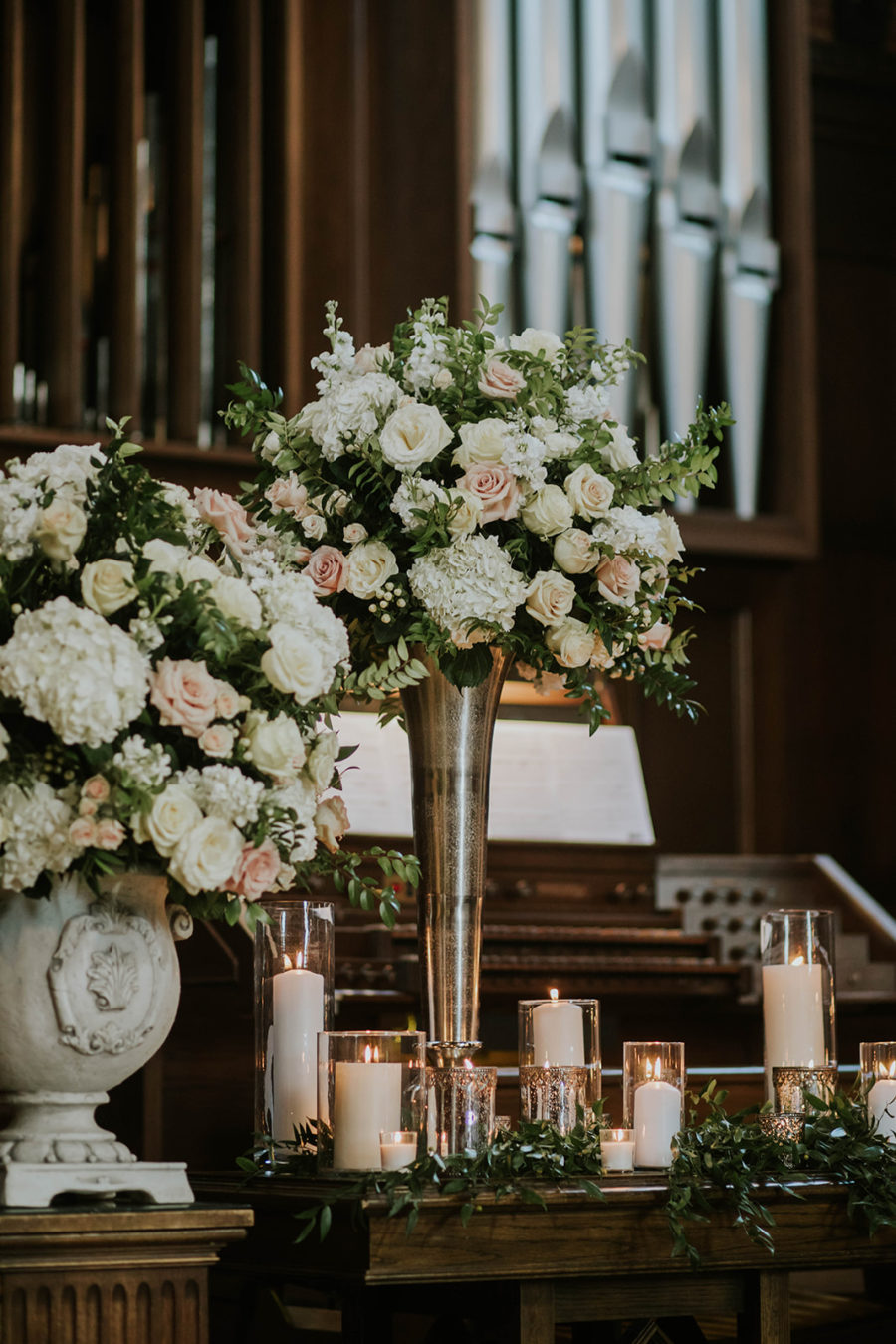 Wedding Ceremony Florals: Soft Pink Clementine Hall Wedding featured on Nashville Bride Guide