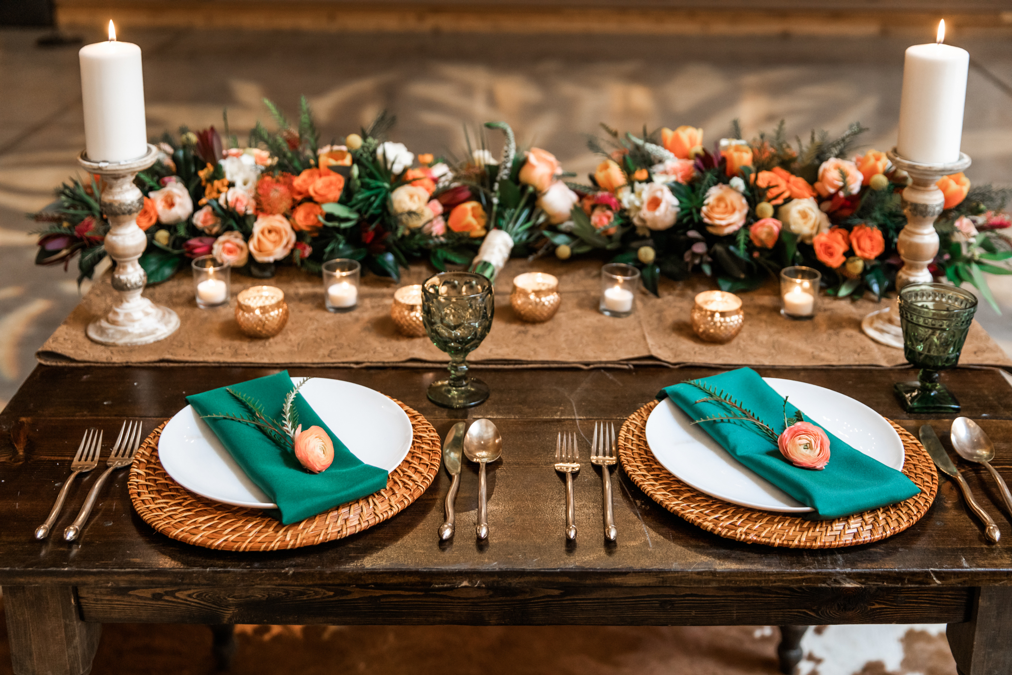 Wedding table setting ideas: Western Inspired Wedding by Laurie D'Anne Events featured on Nashville Bride Guide