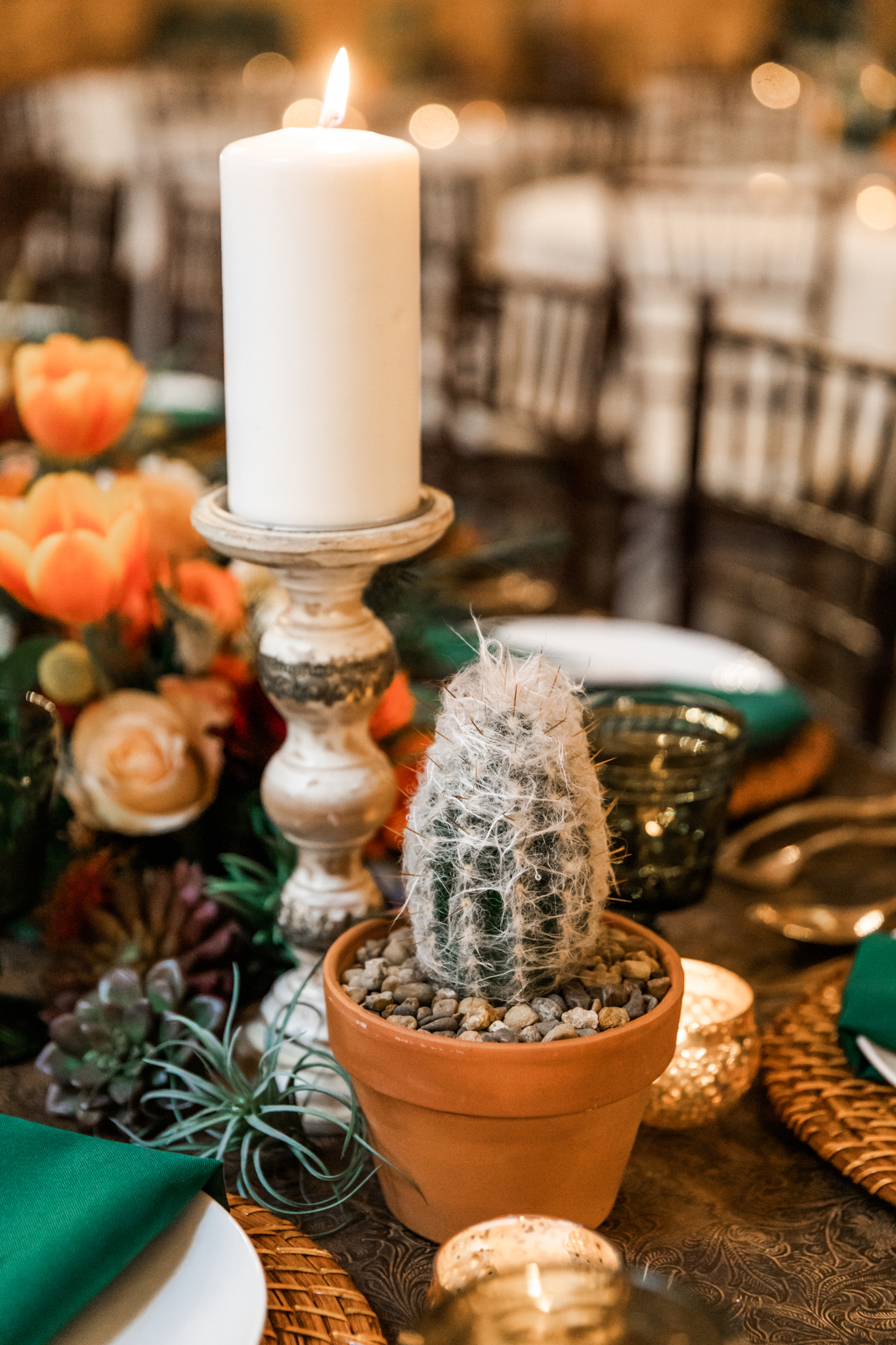 Cactus wedding centerpieces: Western Inspired Wedding by Laurie D'Anne Events featured on Nashville Bride Guide