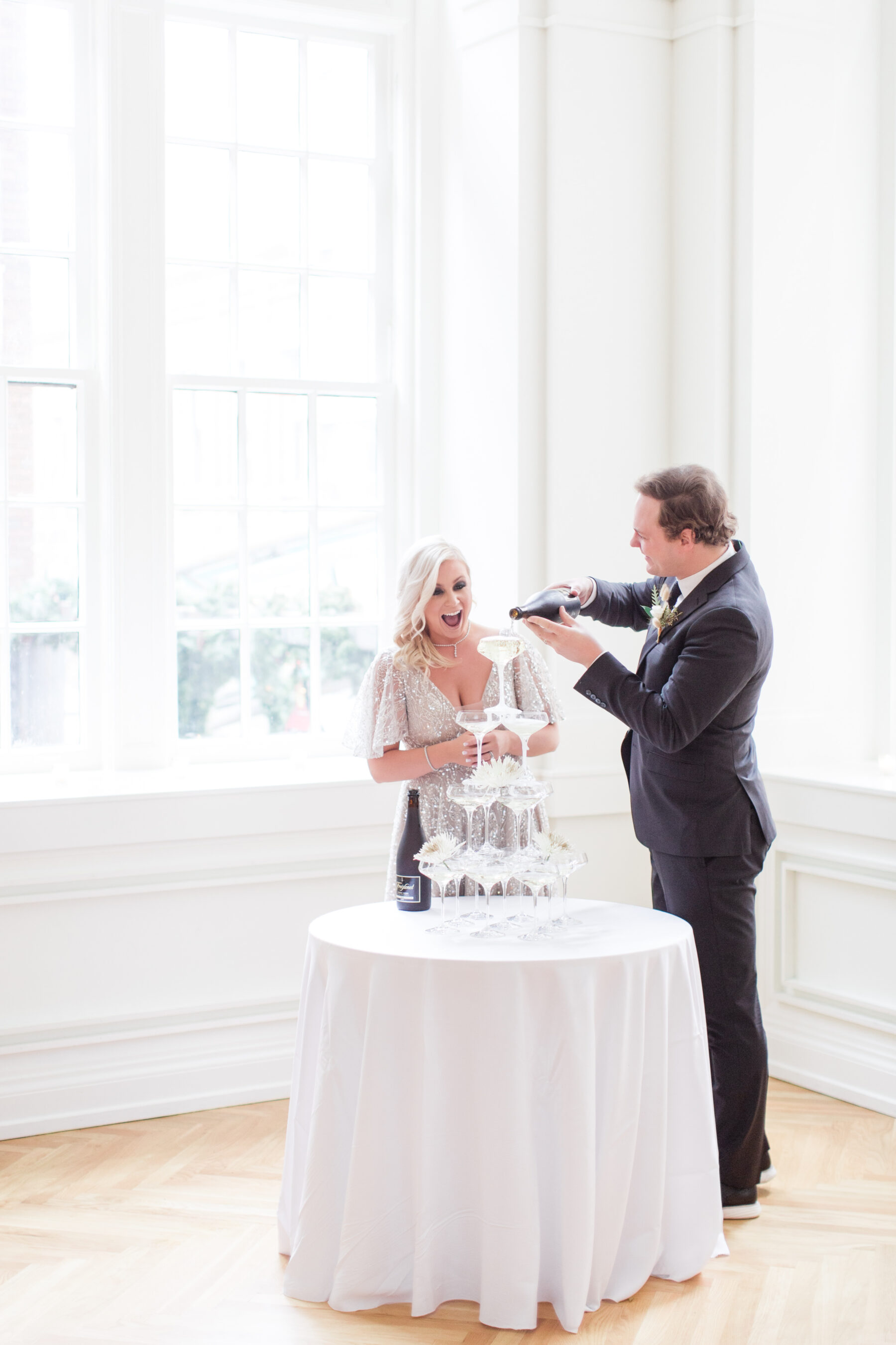 Wedding champagne fountain: Classic, Yet Modern New Years Eve Wedding Inspiration featured on Nashville Bride Guide