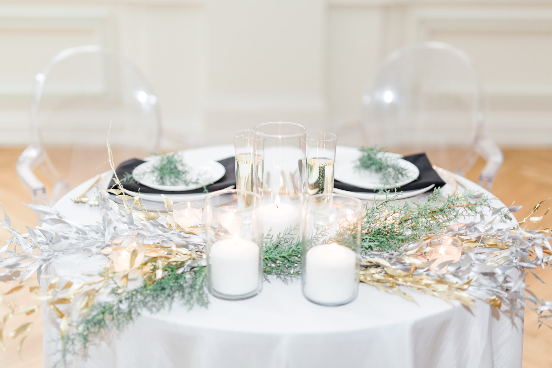 Winter wedding table decor: Classic, Yet Modern New Years Eve Wedding Inspiration featured on Nashville Bride Guide