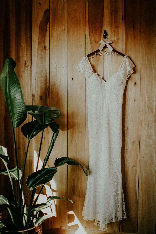Wedding Dress Portrait: Boho Barn Wedding by Melissa Marie Floral Designs