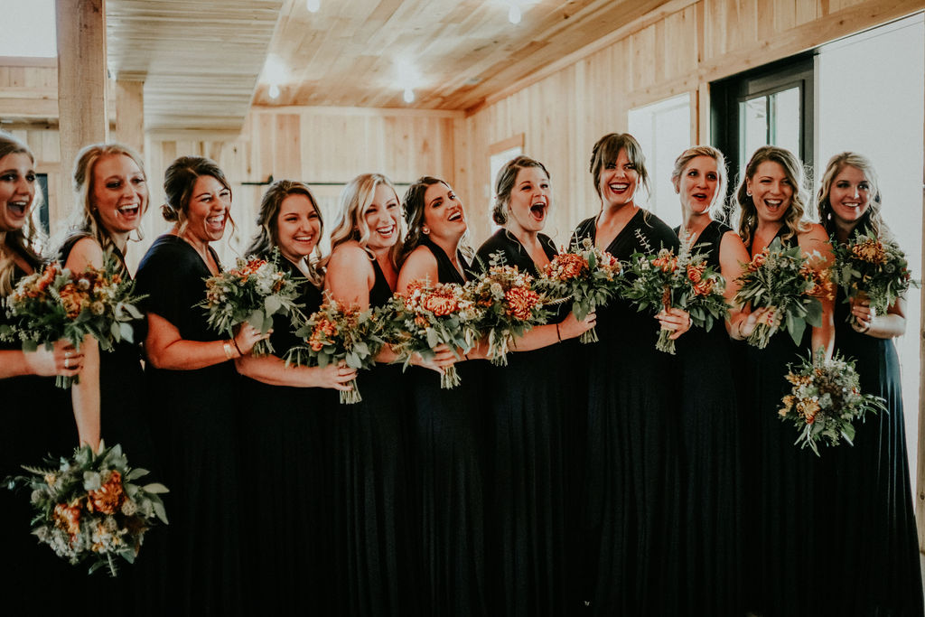 Bridal party first look ideas: Boho Barn Wedding by Melissa Marie Floral Designs