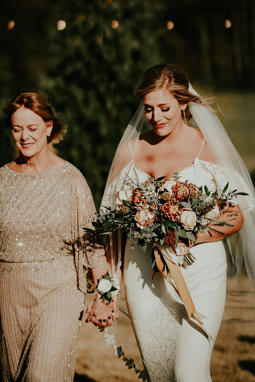 Mother of the bride escorting bride down the aisle: Glenai Gilbert Photography featured on Nashville Bride Guide