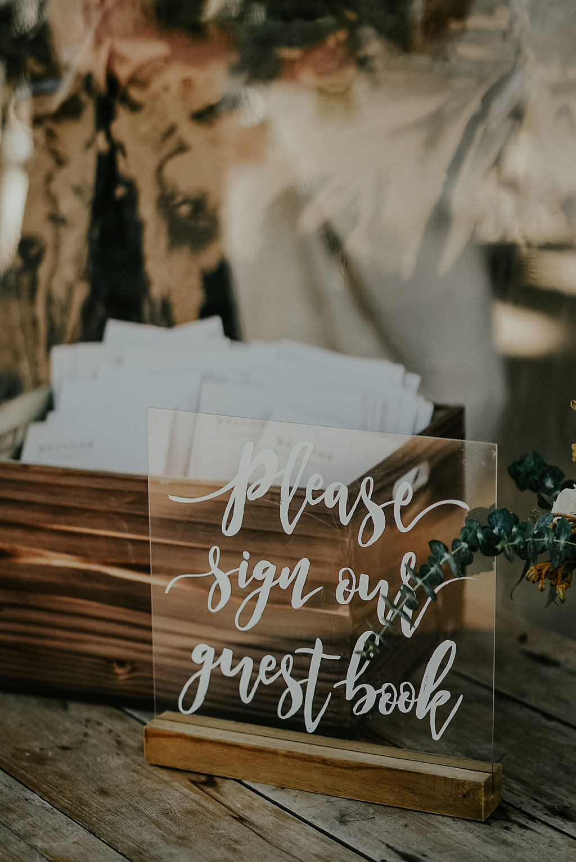 Acrylic wedding sign: Boho Barn Wedding by Melissa Marie Floral Designs