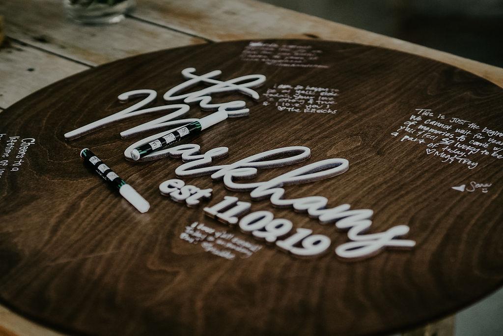 Wood wedding sign: Boho Barn Wedding by Melissa Marie Floral Designs
