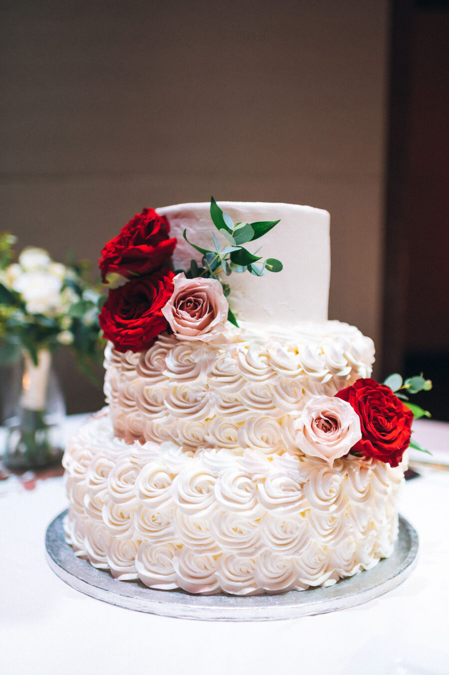Pink and red roses wedding cake: Classic Winter Wedding by Details Nashville