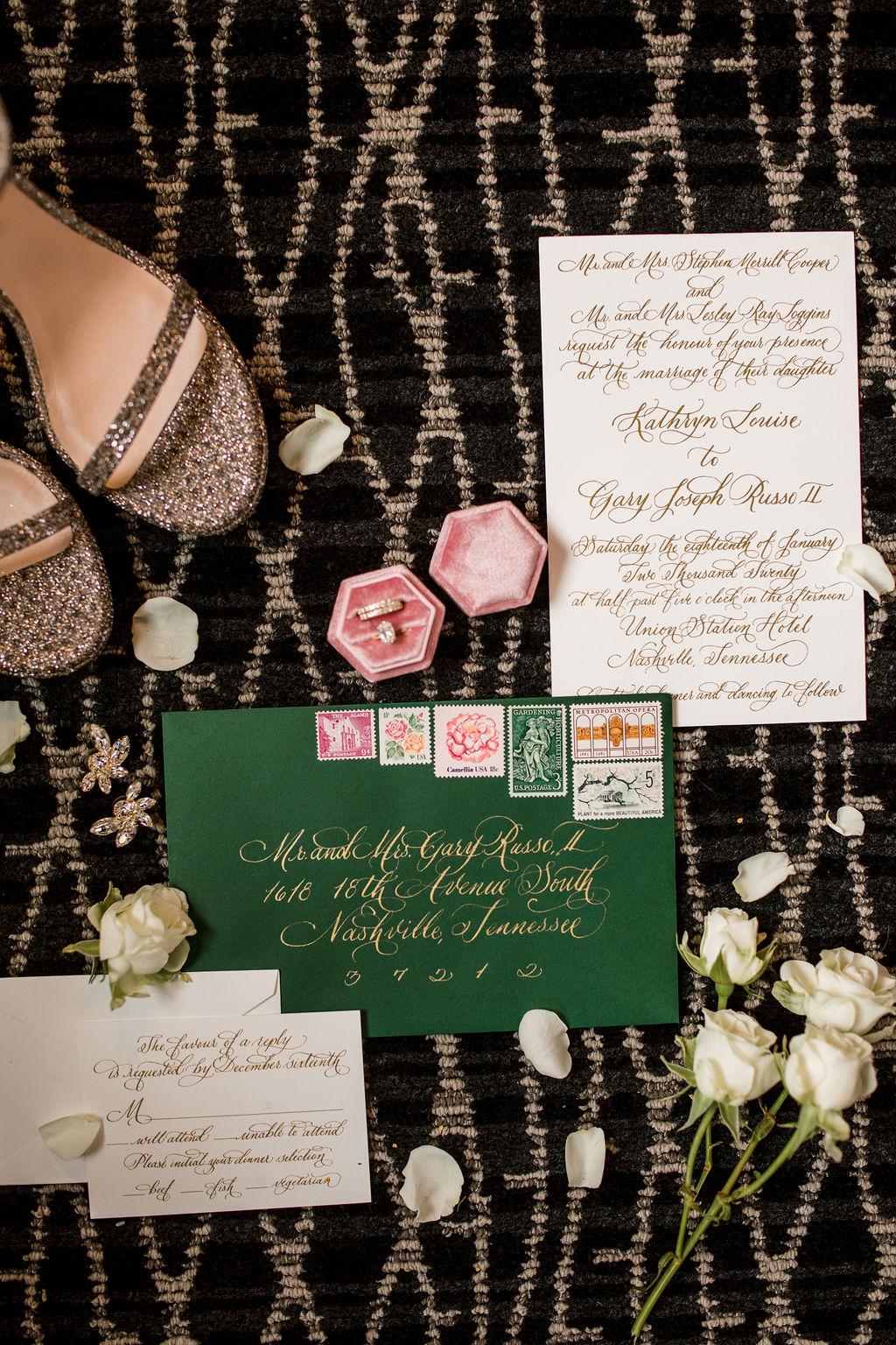 Modern wedding invitation suite: Lavish Union Station Hotel Wedding featured on Nashville Bride Guide
